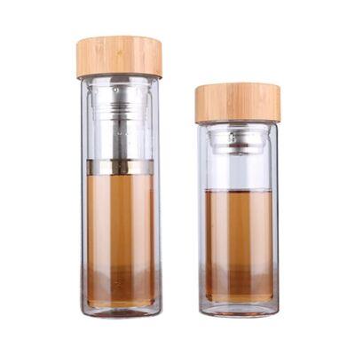 GetWell Duplafalú Üveg Kulacs teaszűrővel és bambusz fedéllel 450ml